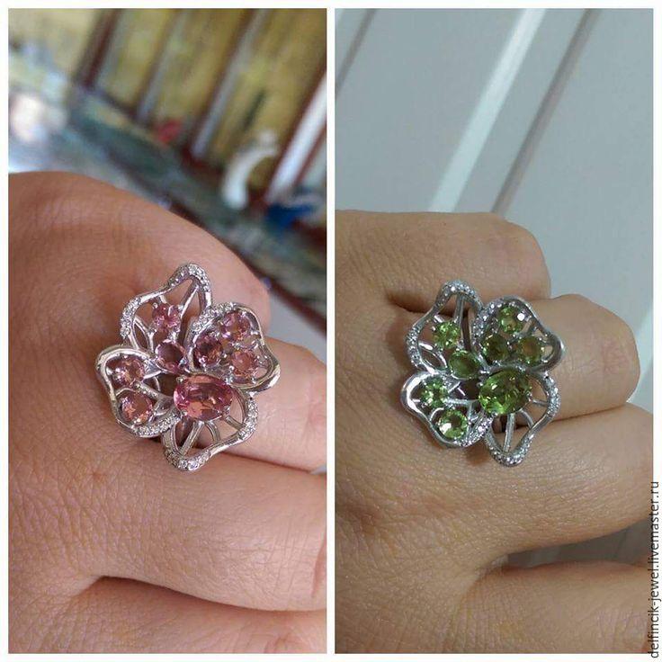 Купить Серебряный кольцо Цветок с россыпью султанитов. - разноцветный, султанит, перстень с султанитом, султанит в серебре