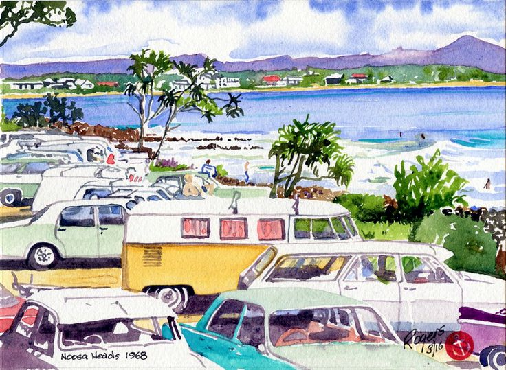 Noosa Heads, Queensland, Australia in the late 1960s. (Artist:  Kevin Rogers)