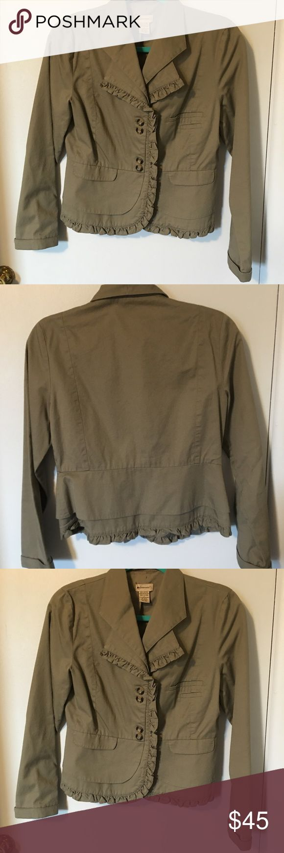 Elevenses from Anthropologie olive green jacket size 6. Elevenses by Anthropologie olive green jacket in a size 6.  Excellent condition only wear is around the label.  Great staple jacket. Anthropologie Jackets & Coats Blazers