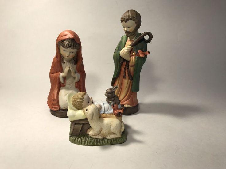 "Ceramic Nativity Mary Joseph Baby Cradle Manger Creative Art Flowers 6""    | eBay"