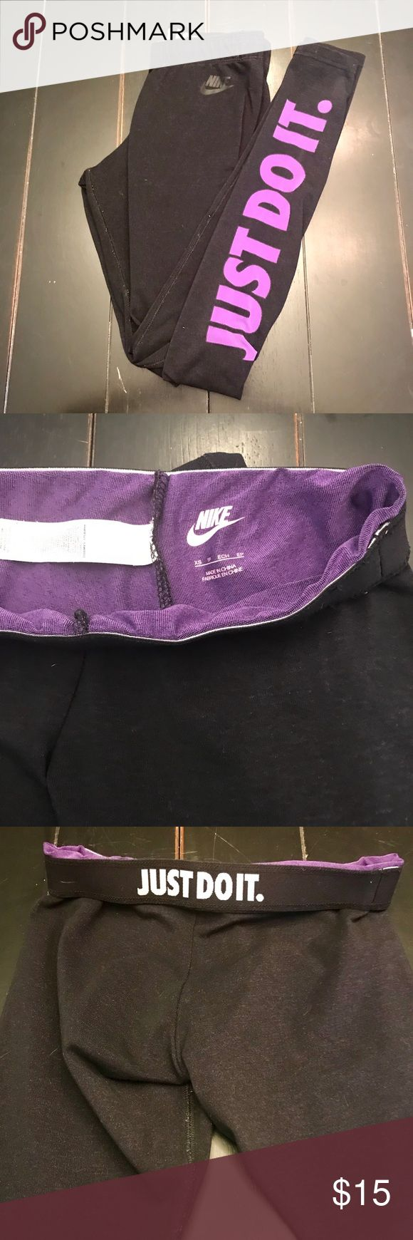 Nike Black Purple Athletic Gym Legging Tight XS Great used condition - outer fabric is black and inner is purple which creates a cool purple/black tone. These are a true XS Nike Pants Leggings