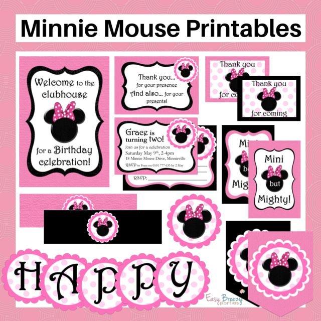 Minnie Mouse party printable set - with black and pink versions and free invititation customization. Include invite, bunting, drink bottle labels, 2 inch circles and more plus FREE online party planning help! https://www.etsy.com/listing/232998454/minnie-mouse-printable-set-free?ref=shop_home_active_1 #easybreezyparties #minniemouse