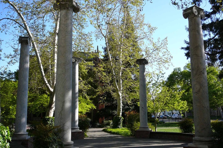 The Columns at the University of the Pacific (Stockton).  Did you know if you stand exactly in the middle you can whisper and hear your own echo.  Try it!