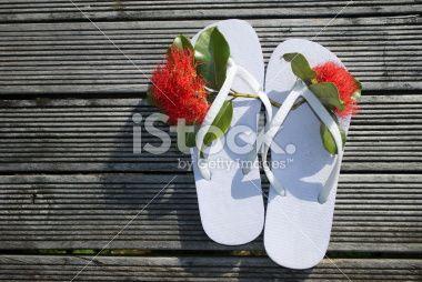 Kiwiana Summer, Jandals & Pohutakawa Flower Royalty Free Stock Photo