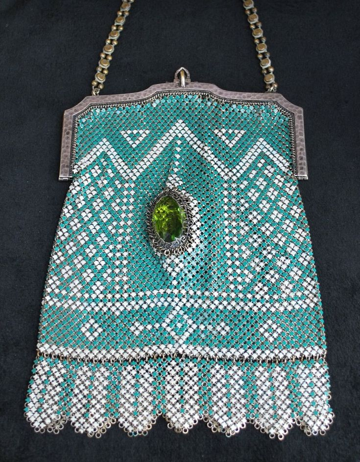 "Large Whiting and Davis Enamel Mesh Purse Two Large Green Jewels, marked ""El Sah"" 1920s"