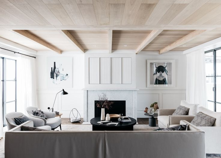 neutral living room, wood beamed ceiling, black for contrast