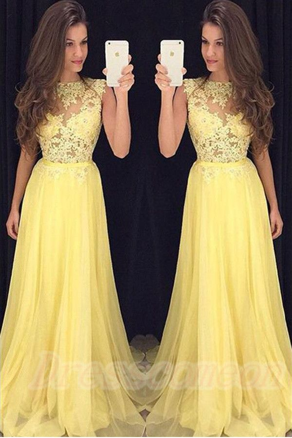 Simple Yellow Lace Chiffon Prom Dresses,Modest Evening Dresses,Prom