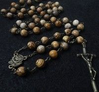 Wish   The Holy Rosary Antique Necklace Chain Cross Spiritual Luxury Picture Stone Novena Prayer Pray Anglican Men Women