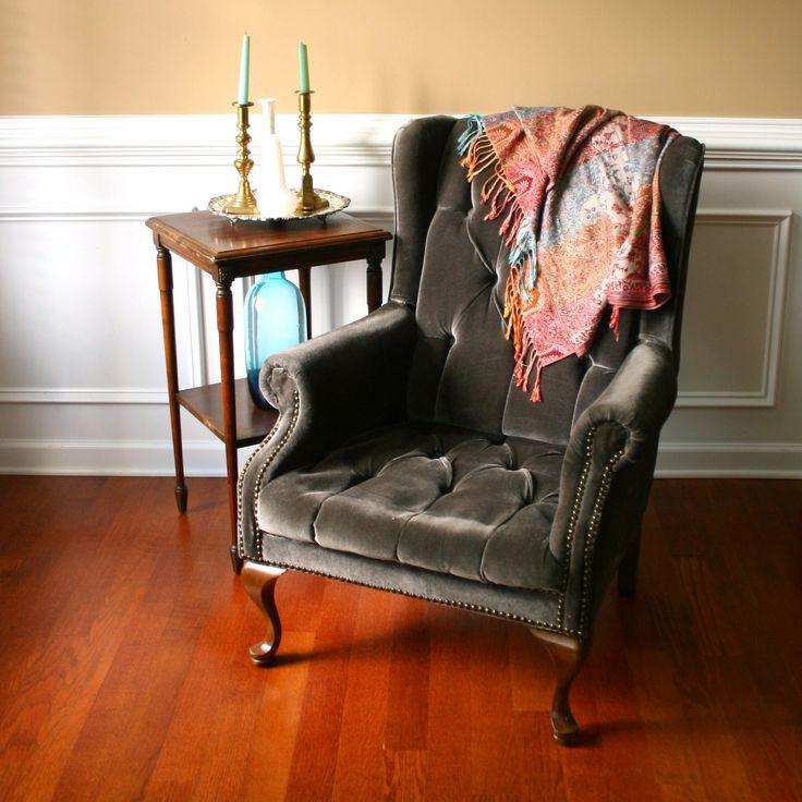 Vintage Upholstered Wing Back Arm Chair. Velvet. Tufted. Pewter Gray