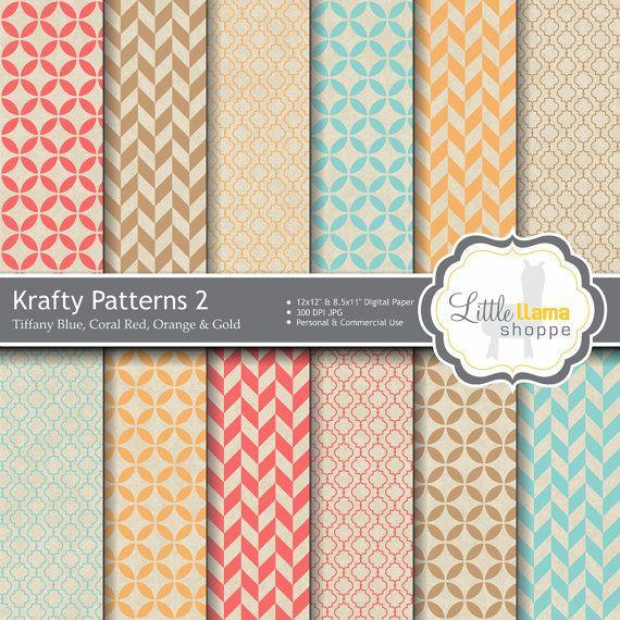 Digital Scrapbook Paper // Tiffany Blue Coral by LittleLlamaShoppe, $3.00