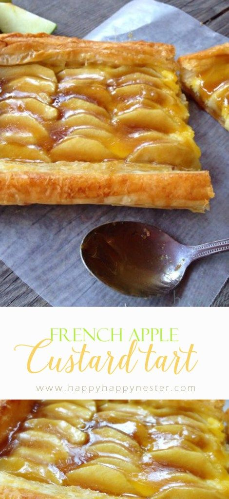 This is a perfect dessert that blends apple pie and custard with a flaky puff pastry crust.