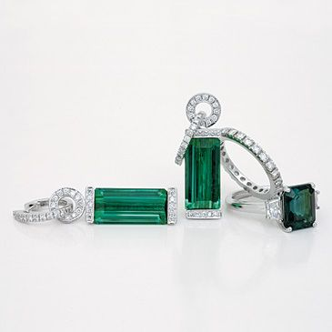 Elegant indicolite tourmaline and diamond earrings and rings - from Tayma Hong Kong