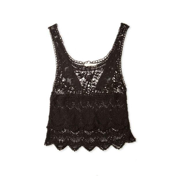 Crop Crochet Top Black