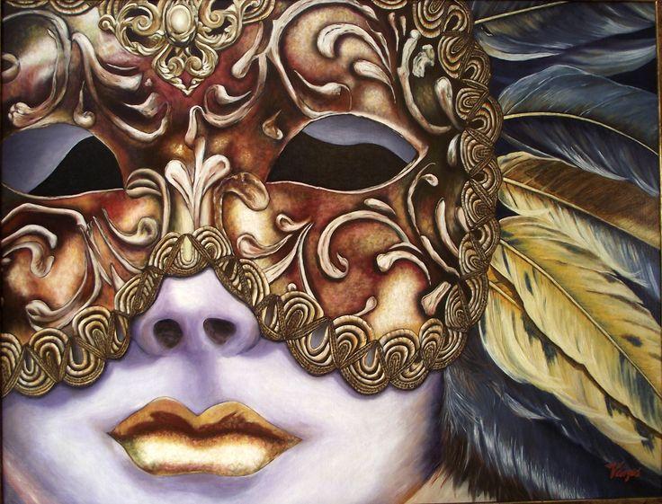 """LA MASCARA DORADA -  Oleo sobre lienzo 80x60 cm. - 2011 - Juan Manuel Vargas Vega -  Con autorización de Mary Beth Aiello (USA), autora de la foto                                                        """"Mask of gold"""""""