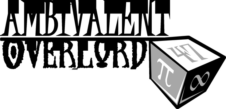 Ambivalent Overlord Games logo!  www.facebook.com/ambivalentoverlord  By Rhianna Williams