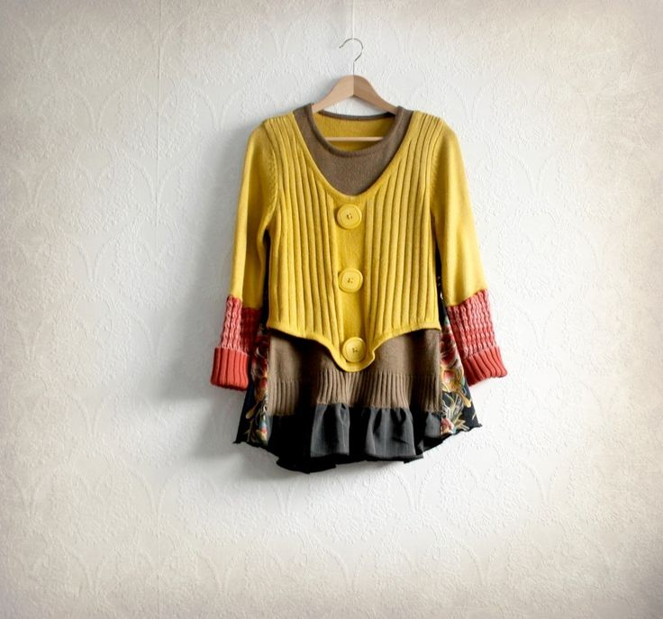 Image of Boho Clothing Mustard Yellow Women's Sweater Tunic Style Altered Couture Wearable Art Bohemian S/M
