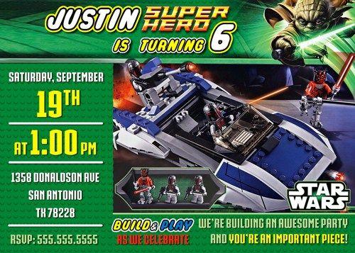 Lego invitation STAR WARS, Lego personalized invitation