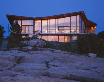 Beach house with glass and wood