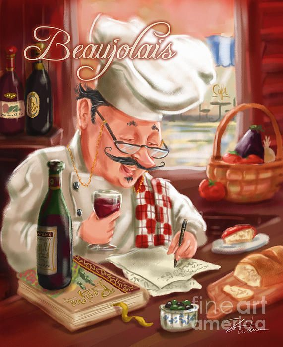TitleBusy Chef With Beaujolais. Chef keeps busy writing down his favorite recipes while sipping on a glass of wine! Fun artwork for your kitchen or dining room decor. Artist, Shari Warren.