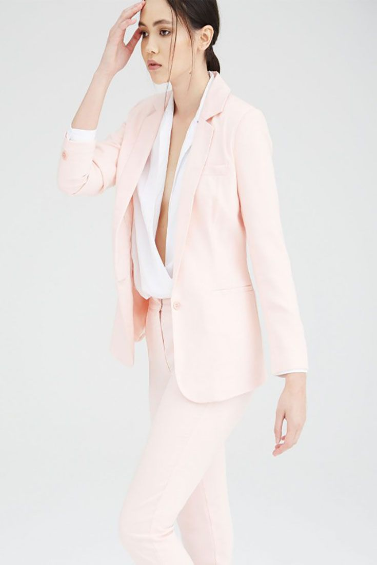 #Angie blush tailored, fully lined #blazer with front pockets. Suit up for full effect with the #Jerry #trousers. 95% Viscose, 5% Elastane