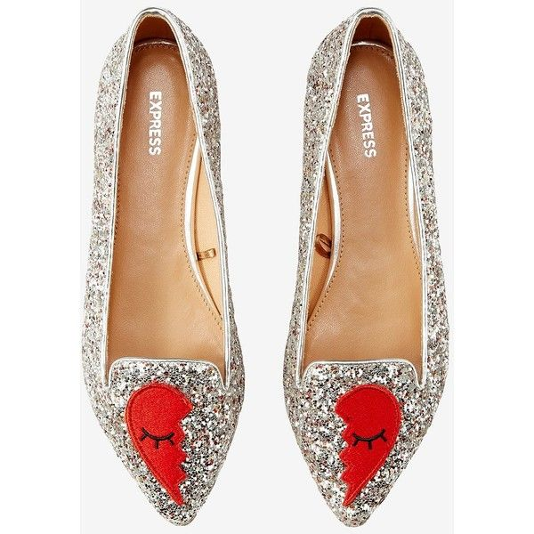 Express Broken Heart Embroidered Patch Flats ($27) ❤ liked on Polyvore featuring shoes, flats, silver, synthetic shoes, silver flats, silver shoes, silver pointed toe flats and flat pointed toe shoes