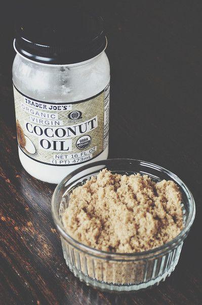 homemade exfoliator/face scrub. coconut oil and brown sugar.