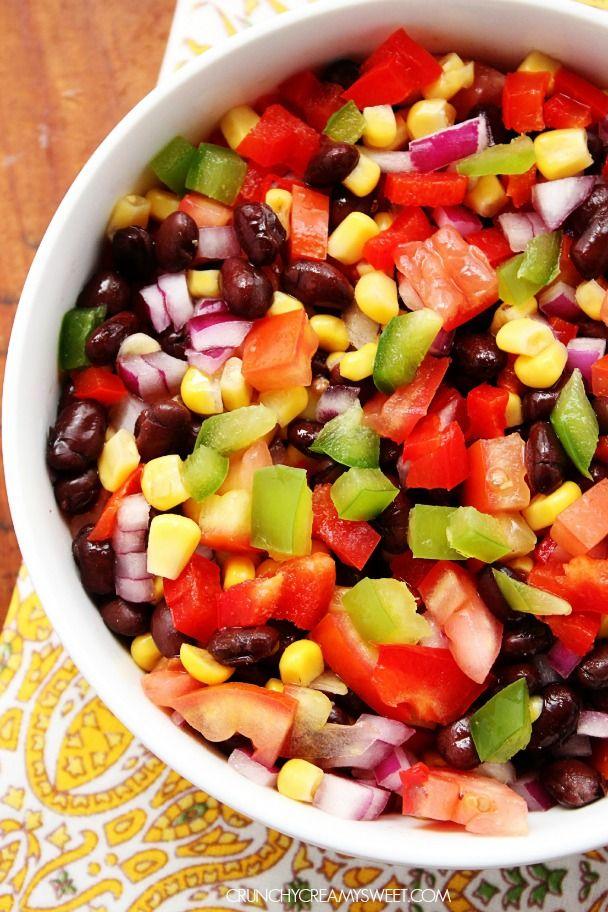 Mexican Black Bean and Corn Salad #recipe crunchycreamysweet.com