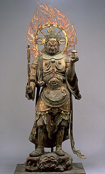 Tamon-ten (Vaisravana) , Color on wood, Late-Heian Period (11th Century) National Treasure (Joruri-ji Temple, Kyoto) , Kyoto National Museum. This and three other sculptures form a set of four guardian deities that has been long been kept in the Hall of Nine Amidas of Joruri-ji Temple. As these guardians are slightly too large for the hall, it is assumed that they were originally made for another hall.