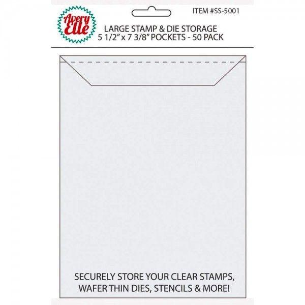 Avery Elle Stempel-u. Stanzformen-Klarsicht-Tüten LARGE / Stamp & Die Storage ( 50 Stück ) SS-5001