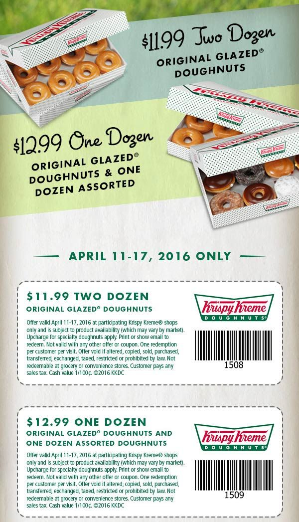 2 dozen doughnuts for 12 at Krispy Kreme Krispy kreme