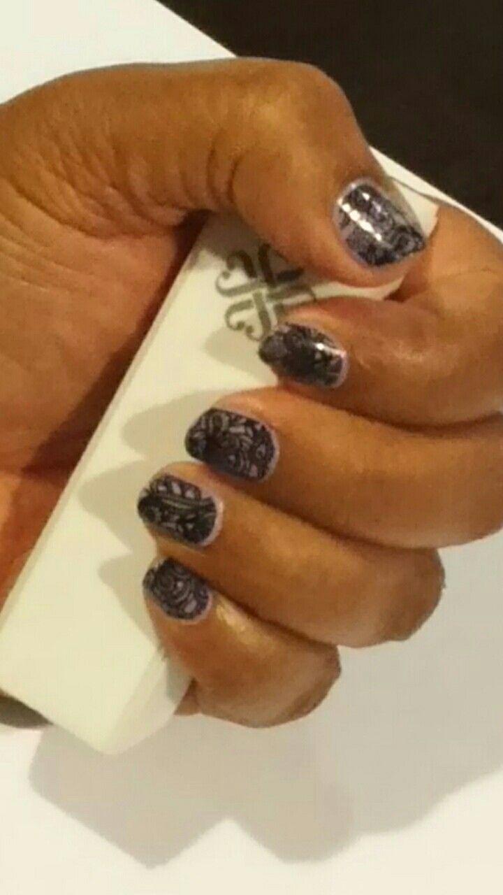 Black lace over lilac polish