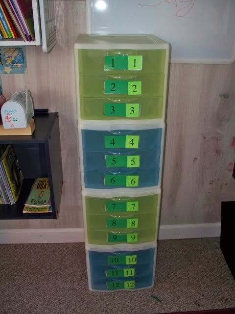 My version of The WorkBox System.. each is loaded with assignments,games etc..all the needed items to complete the work. Declan will pull a ...