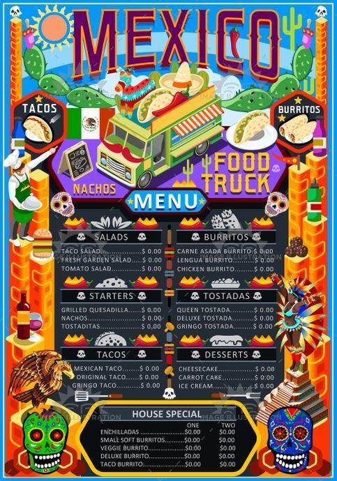 Mexican Menu Template Food Truck