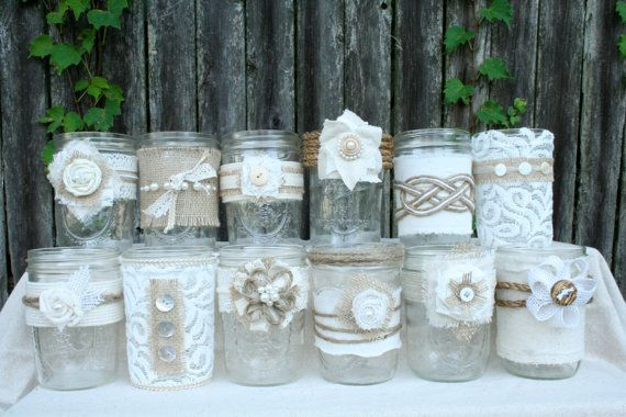 Burlap & Lace Mason Jars by TheBreadBarn on Etsy