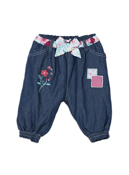 3D appliqued flowers and patches give a touch of luxury to these soft lined denim pants. Easy on and off with our elasticated waist and cuffs.