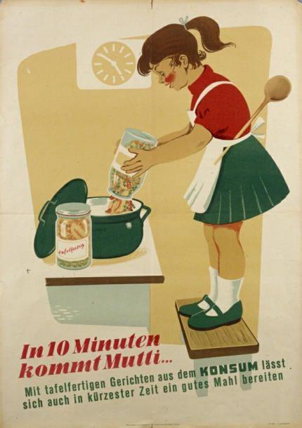 """""""In 10 Minuten kommt Mutti"""", VEB Graphische Werkstätten Leipzig, Plakat von Rolf Rehme, 1955; © Stadtgeschichtliches Museum Leipzig"""