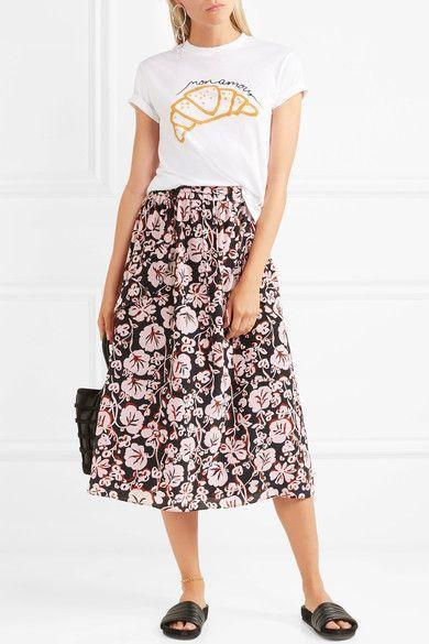 KENZO - Printed Silk Crepe De Chine Midi Skirt - Pink