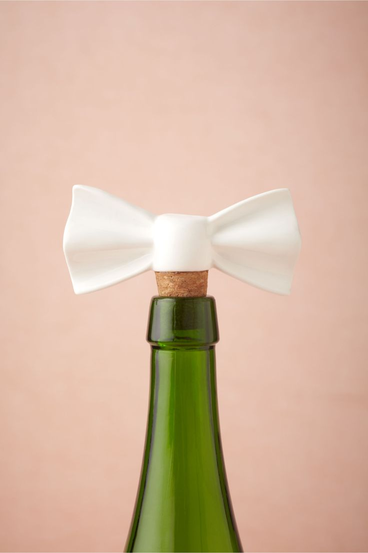 Open wine bottles made elegant! Put a bow on itBottle Stoppers, Wine Corks, Bows Ties, Dapper Bottle, Wine Stoppers, Bows Bottle, Wine Bottle, Bridal Shower Gift, Bridal Shower Favors