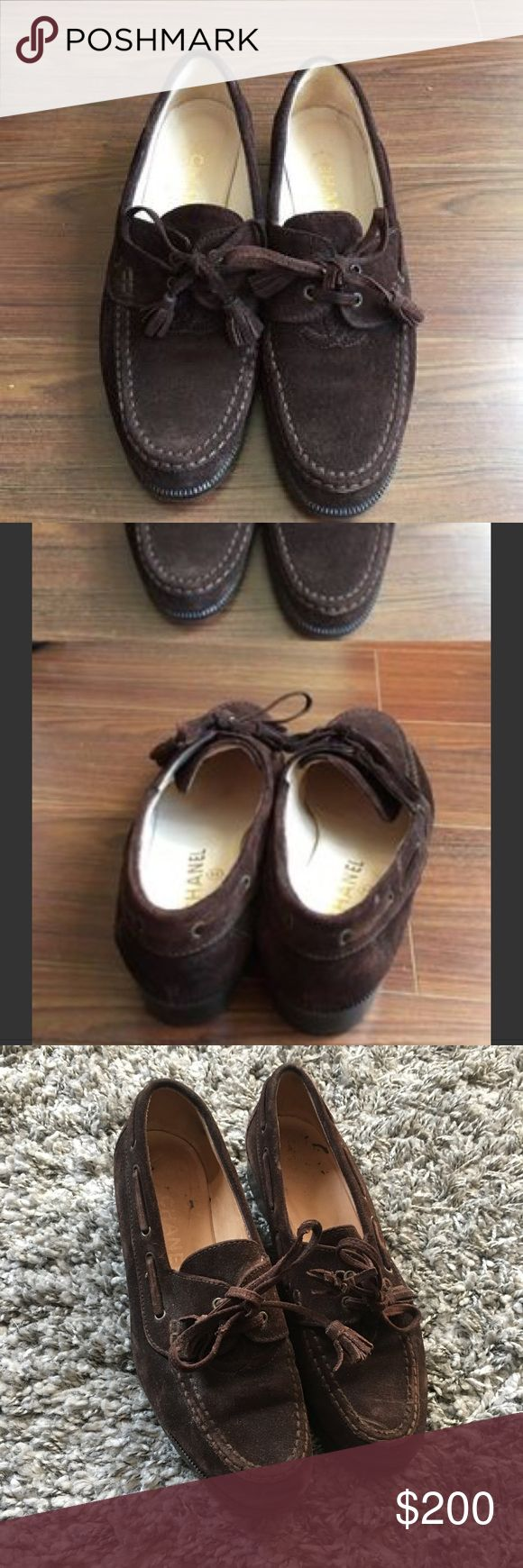 Vintage Chanel Brown Tie Suede Logo Loafers 38.5 8 Vintage and pre loved but still have plenty of life left! 38.5  ----  First two photos are from an old listing for the same shoes, last three are the actual pair for sale CHANEL Shoes Flats & Loafers