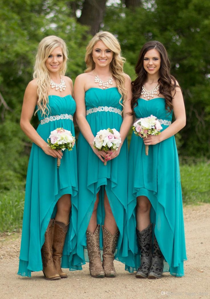 Country Bridesmaid Dresses 2017 Cheap Hot For Weddings Teal Turquoise Chiffon Sweetheart High Low Beaded Belt Party Dress Maid Honor Gowns