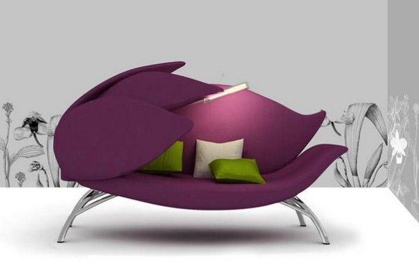 Lily flower inspired modern sofa in purple...