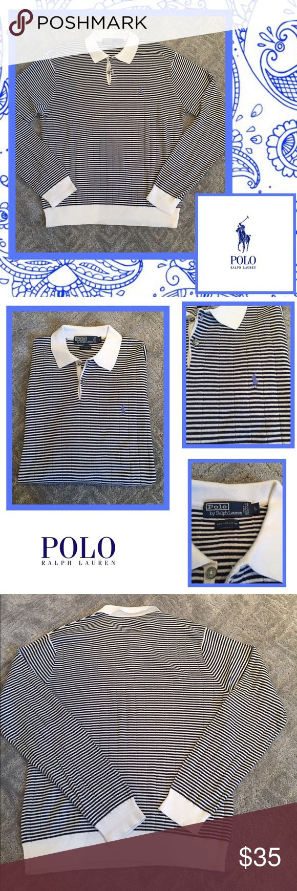 🏇Polo by Ralph Lauren light weight sweater🏇 Men's light weight sweater by Polo. 100% puma cotton and is super soft. Navy and white striped w light blue polo horse. White color and trim throughout. Excellent condition Polo by Ralph Lauren Sweaters