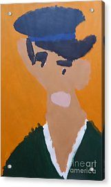 Acrylic Print featuring the painting Young Man With A Hat 2014 - After Vincent Van Gogh by Patrick Francis