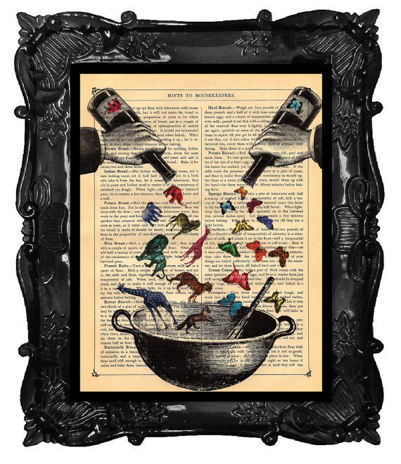Animals and Butterflies Art Print Antique Book Page or Dictionary Print Elephant Giraffe Ingredients for a Better World Print. $10.00, via Etsy.