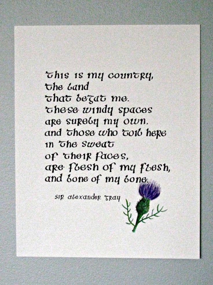 Scottish Poem Quote Calligraphy Scottish thistle Alexander Gray original art by dixiefarmgirls on Etsy