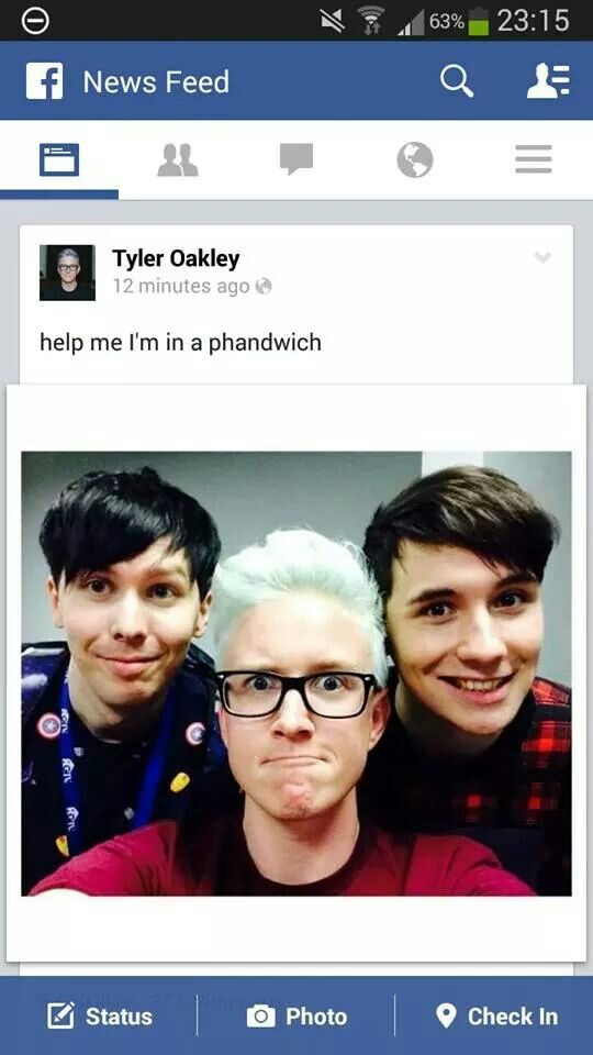 Dan and Phil at VidCon 2015 with Tyler Oakley - best part is he ships it<<< wait does he actually? Or is he just jokingly calling them Phan?
