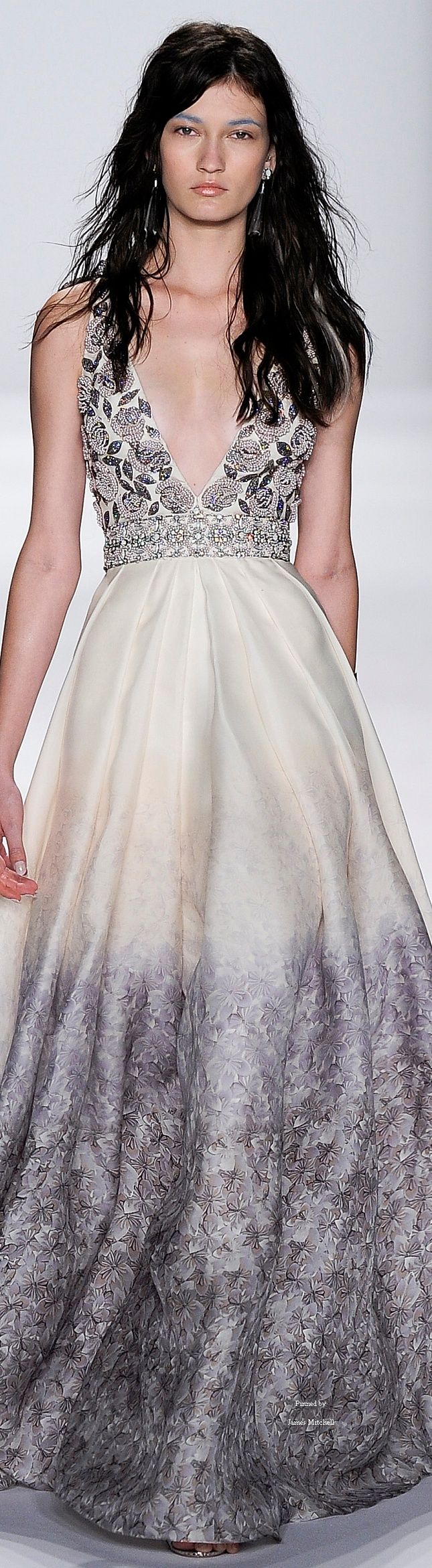 Badgley Mischka ~ Spring Gown w Embellished Bodice & Floral Skirt, White+Grey 2015
