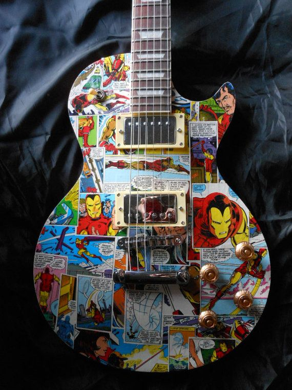 Iron man LP style electric guitar by ComicDecor on Etsy, £100.00