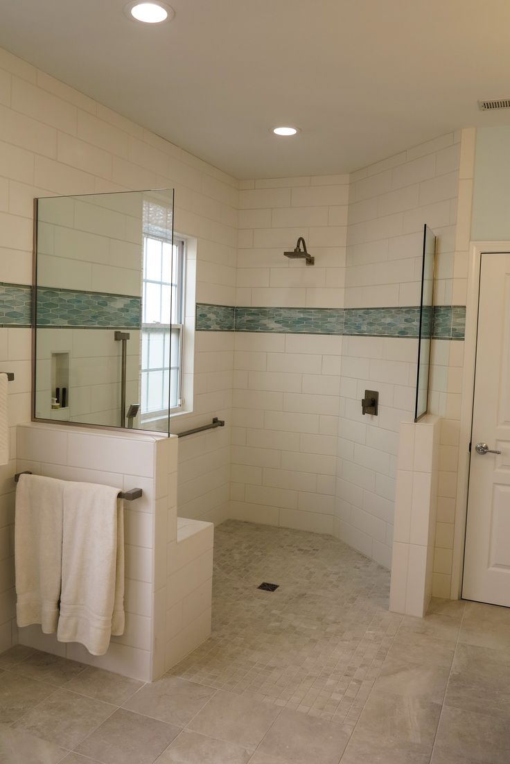 New Curbless Shower Stall Complete With A Transfer Seat