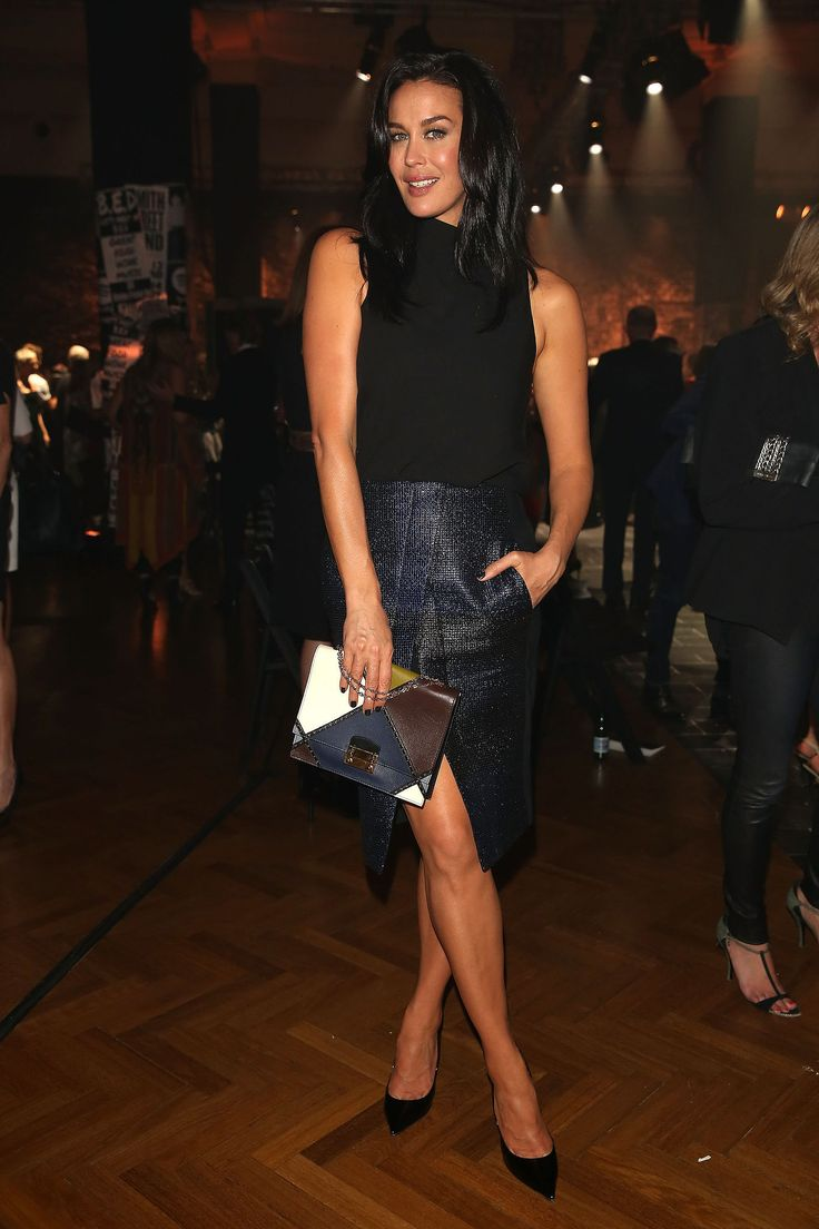 Megan Gale.. camilla and marc look, with Valentino clutch..